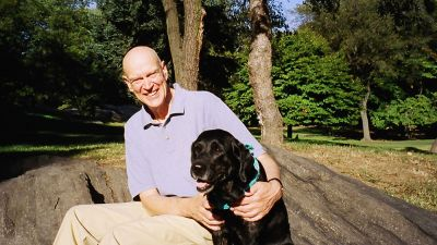 Professor Pietersen with his dog who taught him about leadership