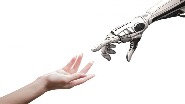 human hand and robot hand touching, human skills should be at the center of technology